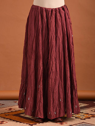 Deep Red Cotton Skirt with Sequins