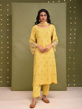 Yellow Hand Embroidered Cotton Tussar Kurta