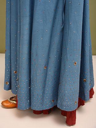 Indigo Hand Embroidered Cotton Tussar Skirt