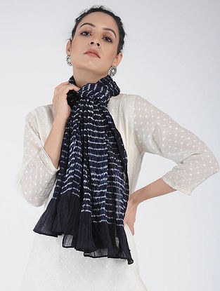 Blue-Ivory Shibori-dyed Cotton Stole