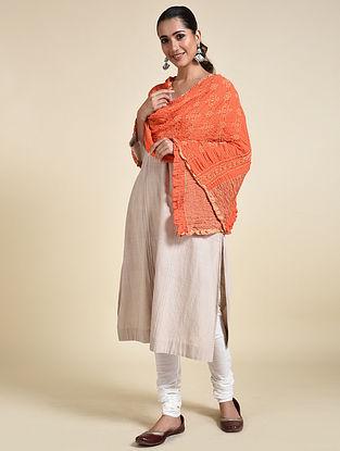Orange-Ivory Bandhani Georgette Silk Dupatta