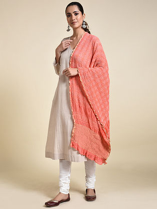 Pink-Ivory Bandhani Georgette Silk Dupatta