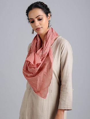 Peach Bandhani Cotton Stole