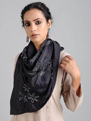 Black Bandhani Silk Stole
