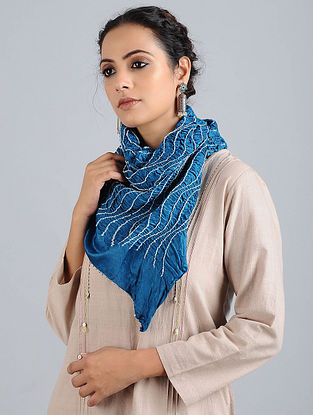 Blue Bandhani Silk Stole
