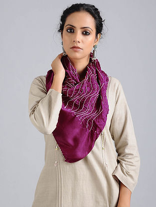 Magenta Bandhani Silk Stole