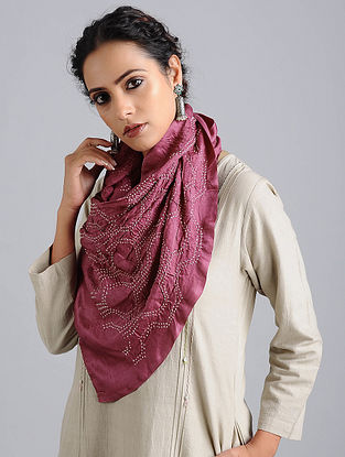 Pink-Ivory Bandhani Silk Stole