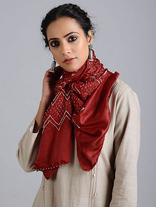 Red Bandhani Silk Stole