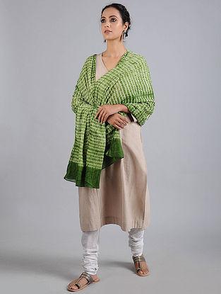 Green-Ivory Bandhani Cotton Dupatta