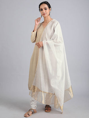 Ivory Cotton Silk Dupatta with Mukaish Work and Zari