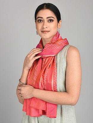 Pink-Orange Handwoven Ikat Silk Stole