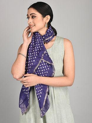 Purple Bandhani Cotton Silk Stole