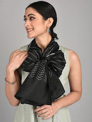Black Handwoven Ikat Silk Stole