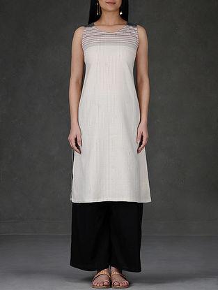 Ivory Round Neck Sleeveless Cotton Kurta