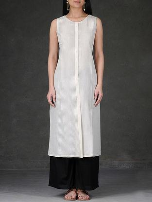 Ivory-White Striped Button-Down Cotton Kurta