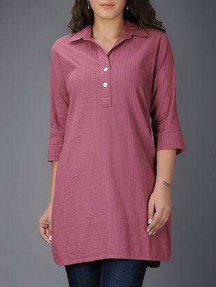 Pink Pintuck Collared Cotton Kurta