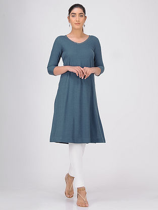 Teal Sequined Knitted Cotton Kurta