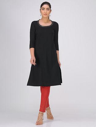 Black Sequined Round Neck Knitted Cotton Kurta