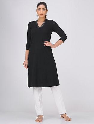 Black Sequined V-neck Knitted Cotton Kurta