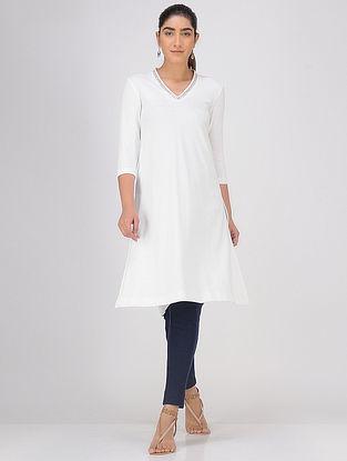 Ivory Sequined V-neck Knitted Cotton Kurta