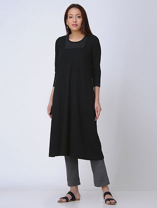 Black Round Neck Knitted Cotton Kurta