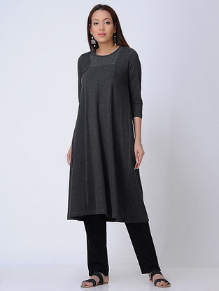 Grey Round Neck Knitted Cotton Kurta