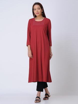 Red Round Neck Knitted Cotton Kurta
