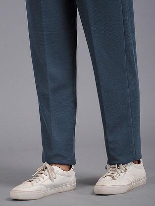 Blue Elasticated Waist Cotton Blend Pants