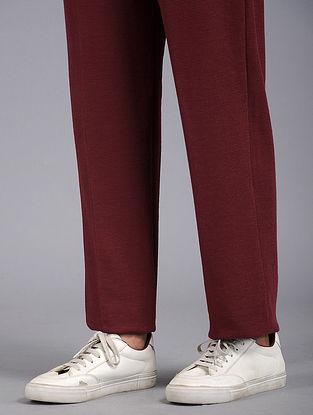 Maroon Elasticated Waist Cotton Blend Pants