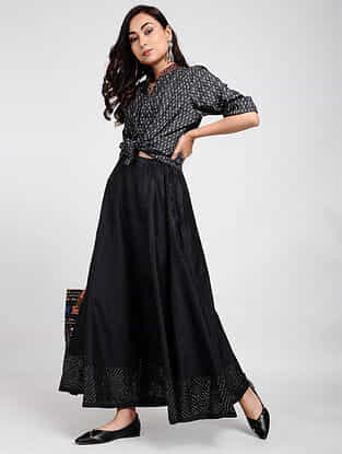 Black Ikat Cotton Top with Taanka Work