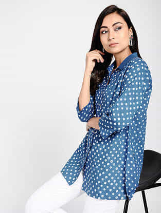 Blue Bandhani Cotton Top with Taanka Work