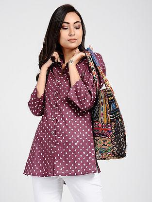 Magenta Bandhani Cotton Top with Taanka Work