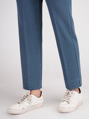 Blue Cotton Blend Pants