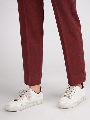 Maroon Cotton Blend Pants