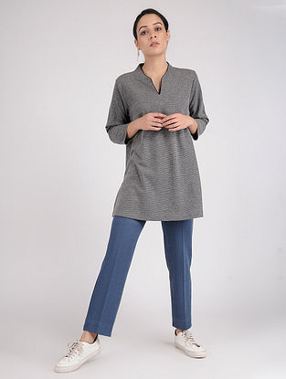 Grey Cotton Blend Kurta with Contrast piping