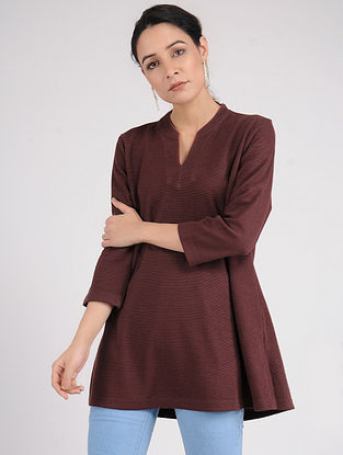 Wine Cotton Blend Kurta with Contrast piping