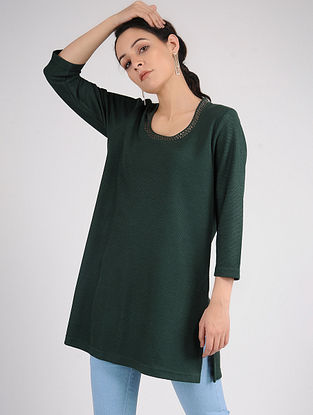 Green Cotton Blend Kurta with Tikki Work