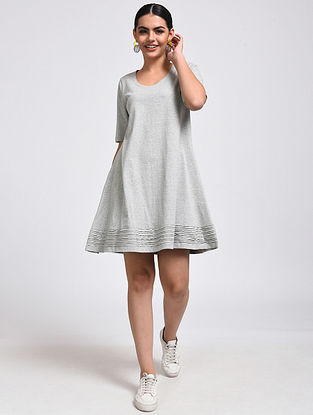 Grey Cotton Blend Dress