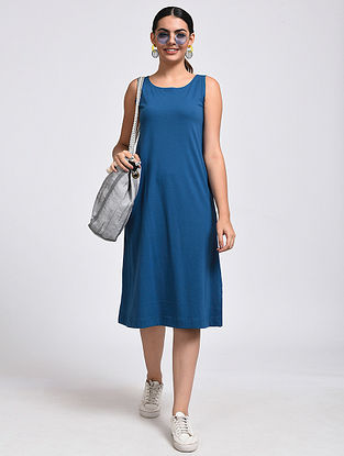 Blue Cotton Blend Dress