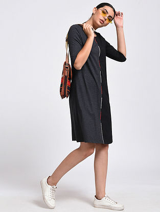 Black Hand-Embroidered Cotton Blend Dress
