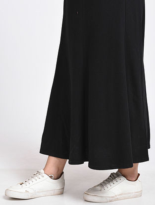 Black Cotton Blend Skirt