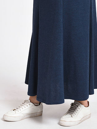Navy Cotton Blend Skirt