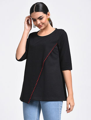 Black Hand-Embroidered Cotton Blend Top
