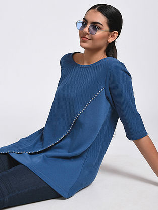 Blue Hand-Embroidered Cotton Blend Top