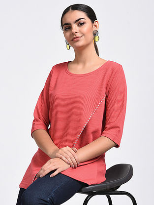 Peach Hand-Embroidered Cotton Blend Top