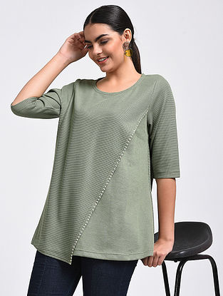 Green Hand-Embroidered Cotton Blend Top
