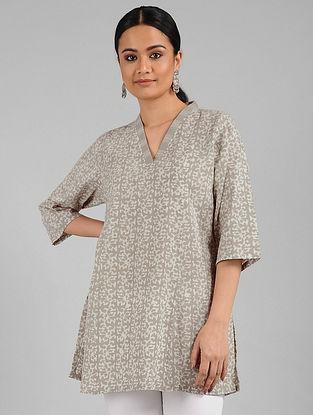 Beige Batik Print Cotton Tunic