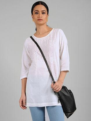Ivory Khadi Tunic with Stitch Line