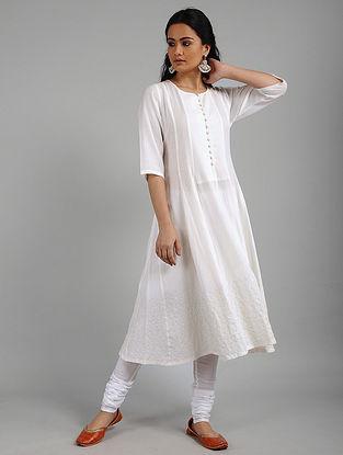 Ivory Cotton Blend Kurta with Aari Work