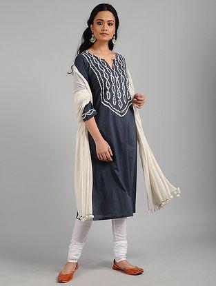 Charcoal Bandhani Cotton Kurta